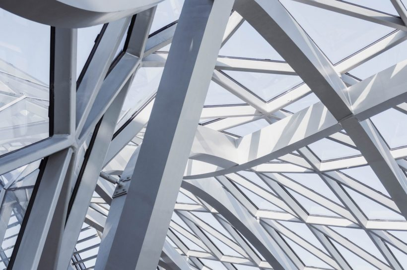 close-up-of-the-steel-frame-structure-and-glass-panels-with-3137051